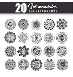 20 mandalas monochrome boho style set vector image