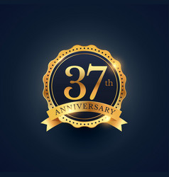 37th anniversary celebration badge label in vector image