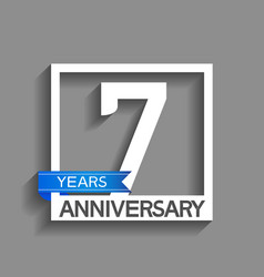 7 years anniversary logotype with white color vector