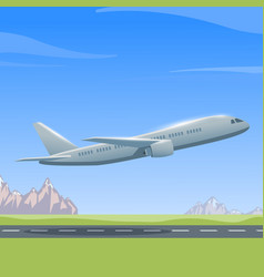 Airplane over the runway vector