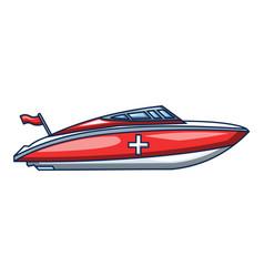 ambulance boat icon cartoon style vector image