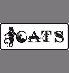 animal team letters-cats black and white vector image