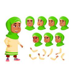 Arab muslim girl child kid teen vector
