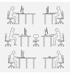 Architectural set furniture with people vector