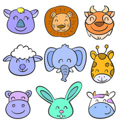 Art animal head colorful doodles vector