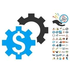 Bank Settings Icon With 2017 Year Bonus Symbols vector