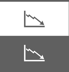 Bankruptcy chart icon on black and white vector