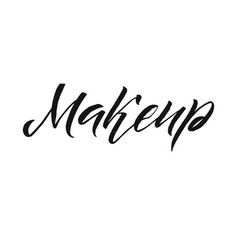 Beauty salon badge makeup brushes make up artist vector