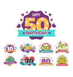 birthday and anniversary greeting isolated icons vector image