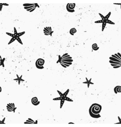 black and white seashells vintage seamless pattern vector image