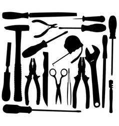 Black hand tool pictograms vector