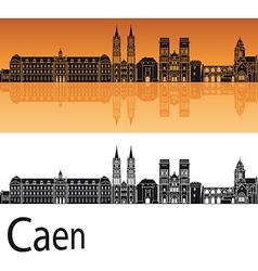 Caen skyline in orange background vector