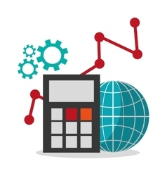 Calculator global and social media design vector