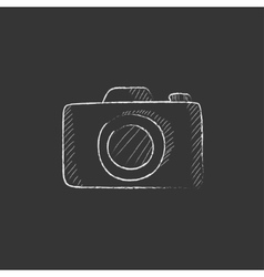 Camera Drawn in chalk icon vector