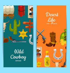 cartoon wild west elements web banner vector image