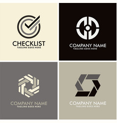 checklist abstract circle logos vector image