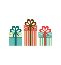 Colorful set of gift boxes with decorative ribbon vector