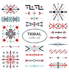Colorful traditional brush set in tribal vector