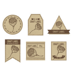 Craft labels with lotus vector