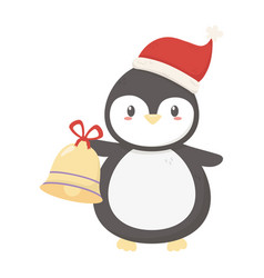 cute penguin with hat and bell celebration merry vector image