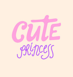 cute princess hand sketched text on yellow vector image