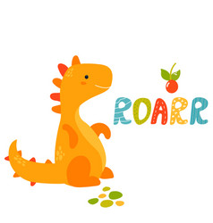 Cute yellow trex dino roarr greeting card vector