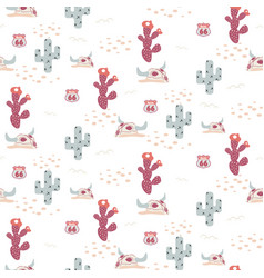 desert texas seamless pattern with cacti vector image