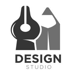 design studio icon template pen tip and vector image