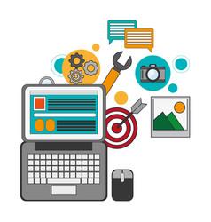 digital marketing computer innovation work vector image