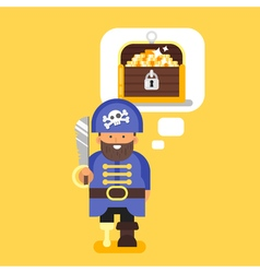 flat style of pirate and treasure chest vector image
