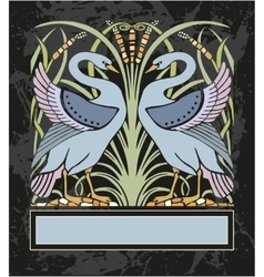Frame with two swans vector image