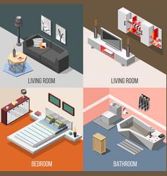 futuristic home interior isometric concept vector image