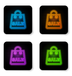 glowing neon shoping bag with an inscription sale vector image