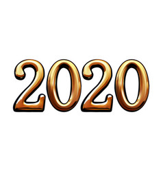 golden digits 2020 on a white vector image