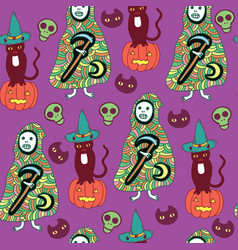 Halloween seamless pattern with cat pumpkin vector