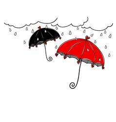 Hand drawn umbrella in rainy day on white vector