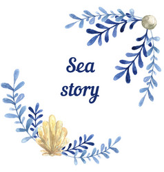 hand drawn watercolor sea story card with water vector image