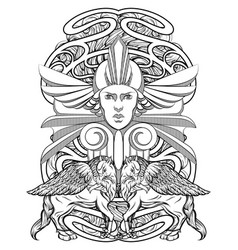 Hand drawn woman with hippogryph vector