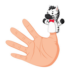 Hand wearing a zebra finger puppet on thumb vector