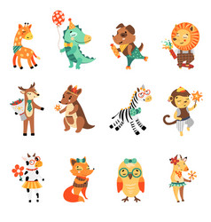 happy birthday nice animal collection vector image