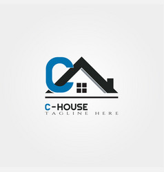 house icon template with c letter home creative vector image