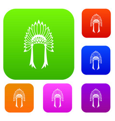 indian headdress set collection vector image