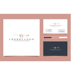 Initial sr feminine logo collections and business vector