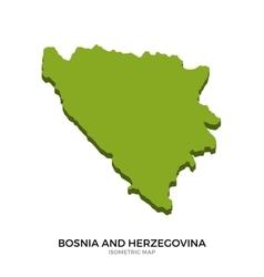 Isometric map of bosnia and herzegovina detailed vector
