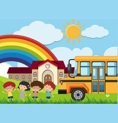 Kids and schoolbus in front of school vector
