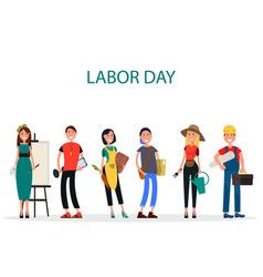 Labor day of different professions graphic design vector