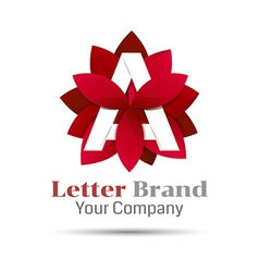 Letter a logo symbol red geometric logotype with vector image vector image