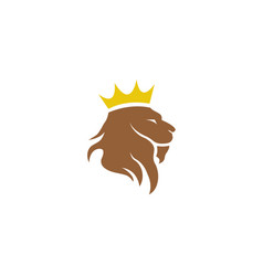 Lion head and crown in top logo design vector