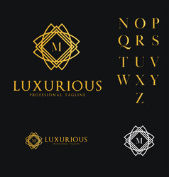 Logo template luxurious hotel fashion letter m vector
