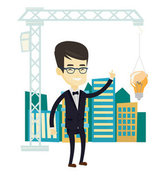 Man pointing at idea bulb hanging on crane vector